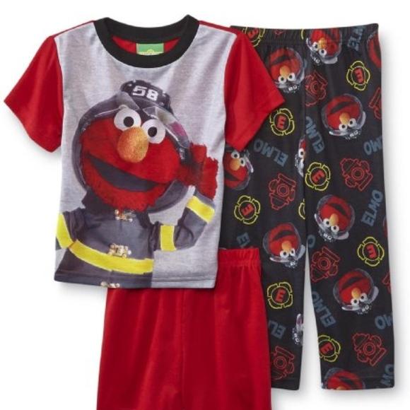 Toddler Sesame Street  3-Piece  Pajamas Elmo Sizes  4T NWT